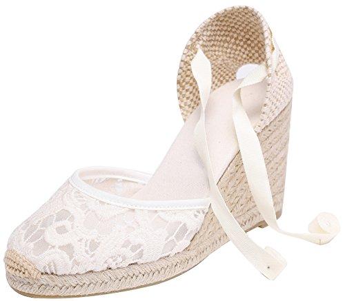 Alpargatas con tacón de cuña de Encaje de Denim clásico para Mujer con Tiras con Cordones Encaje blanco35