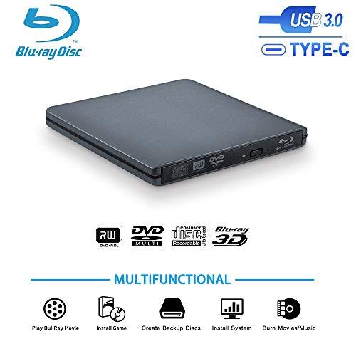 Aluminum External BluRay Writer Drive,  USB3.0 and Type-C Portable Blu-Ray Burner 100GB 128GB BD DVD Disc 3D 6x Slim Reader Player (Grey)