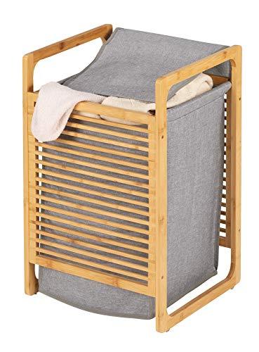 WENKO Wäschetruhe Bahari aus Bambus - Wäschekorb Fassungsvermögen: 43 l, Bambus, 40 x 60 x 35 cm, Braun