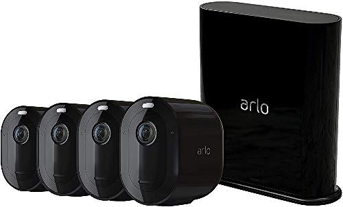 Arlo Pro3, Sistema di Videosorveglianza Wi-Fi con 4 Telecamere 2K HDR, Faro e Sirena Integrati, Visione Notturna a Colori, Audio 2 Vie, Angolo 160°, Interno/Esterno, Nero, VMS4440B-100EUS