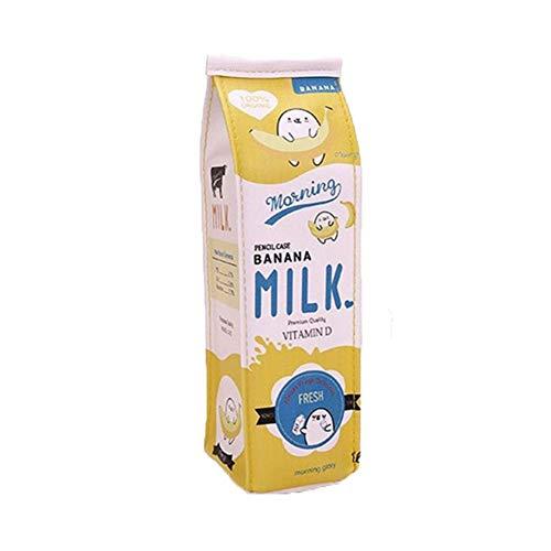 Minsa - Astuccio portapenne a forma di cartone del latte, in pelle sintetica, grande capacit, per scuola e studenti, per ragazzi e ragazze 22*6*6cm Yellow