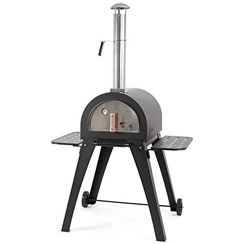 BBQ-Toro - Forno per pizza Havai con pietra refrattaria, 2 ripiani laterali e 2 ruote, fornello per...