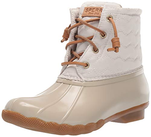 Sperry Womens Saltwater Chevron Quilt Nylon Boots, Ivory, 8
