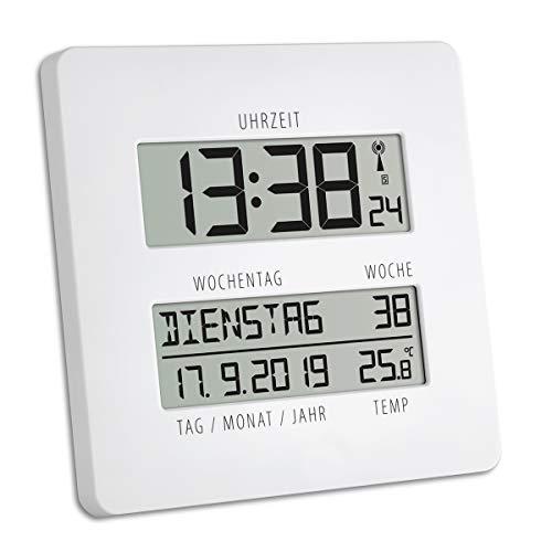 TFA Dostmann TIMELINE Digitale Funkuhr mit Temperatur, Kunststoff, weiß, L 195 x B 27 (110) x H 195 mm