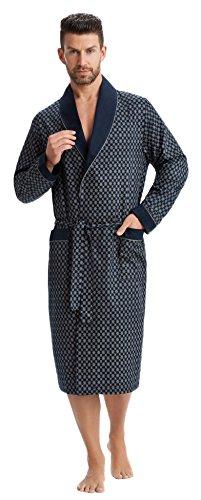 LEVERIE Edler und hochwertiger Morgenmantel für Herren mit elegantem Muster (XL, Dunkelblau mit Muster)