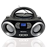 Megatek CB-M25BT Portable CD Player Boombox with FM Stereo Radio, Bluetooth Wireless & Enhanced Sound, CD-R/CD-RW/MP3/WMA Playback, USB Port, AUX Input, Headphone Jack, LCD Display, AC/Battery Powered