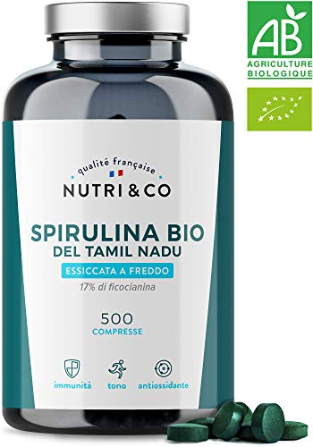 Spirulina Biologica | 500 Compresse Bio da 500 mg Pure Senza Eccipienti | 15 a 19% di Ficocianina | Polvere Essiccata e Compressa a Freddo | Analizzata e Confezionata in Francia da Nutri&Co