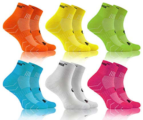 sesto senso Calze Spugna Sportive Colorate Corte Cotone Donna Uomo 3 o 6 Paia Giallo Verde Turchese Bianco Rosa 39-42 6 Pack Arancione