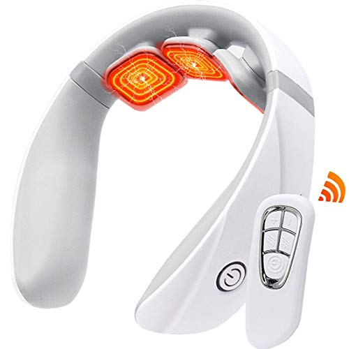 Neck Massager, Intelligent Deep Tissue Cordless Neck Massager with Heat, Electric Pulse Neck Massager for Neck Pain Relief, Snap-On Neck Massagers with 4 Modes 10 Levels, for Home Office Car