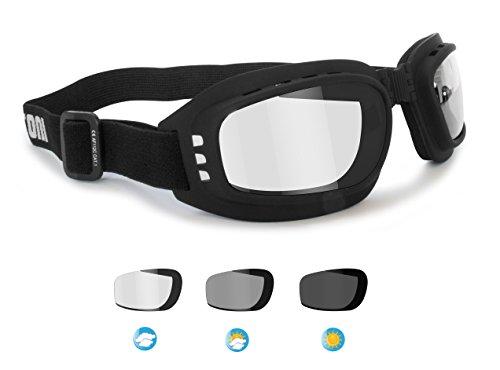 BERTONI Gafas de Moto Fotocromaticas Antivaho con Ventilación Directa - Elástico Ajustable mod. F112A Gafas Motoristas