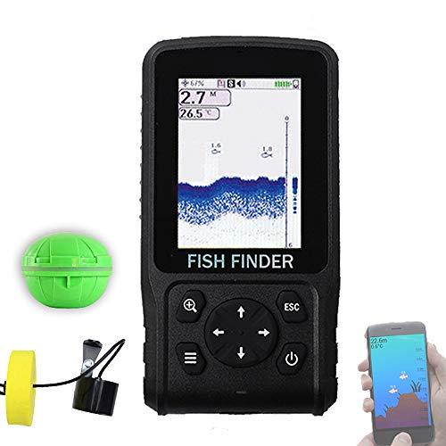 CARACHOME Fishfinder 3 in 1, modalit Wireless/cablata/App, Allarme ecoscandaglio, ecoscandaglio da Pesca Portatile, ecoscandaglio LCD, ecoscandaglio, per Pesca in Lago, Fiume, Oceano e Ghiaccio