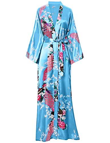 BABEYOND Damen Morgenmantel Maxi Lang Seide Satin Kimono Kleid Pfau Muster Kimono Bademantel Damen Lange Robe Schlafmantel Girl Pajama Party 135cm Lang (See Blau)