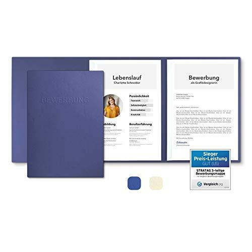 5 Stück 3-teilige Bewerbungsmappen Blau mit 2 Klemmschienen in feinster Lederstruktur - hochwertige Prägung \'\'BEWERBUNG\'\' - direkt vom Hersteller STRATAG