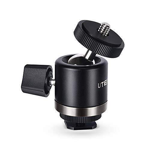 UTEBIT Mini Testa Sfera per Treppiede a 360 Gradi Mini Ball Head con Hot Shoe Mount Anello Girevole con 1/4' Filettatura di Vite Capacità di Carico Massima 3 Kg per Monopiede Fotocamera e Videocamera