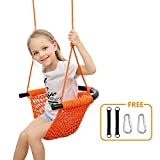 Donghoodshop Kids Swing Seat Heavy Duty Rope Play Secure Children Swing Set for Indoor/Outdoor/Playground/Home/Tree with Snap Hooks and Swing Straps|Suit for 2 to 12 Years|440 lbs Capacity