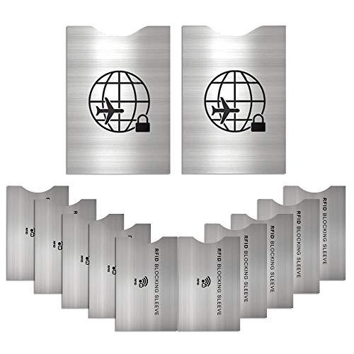 Matana 12 Protectores Anti-RFID para Tarjetas y Pasaportes - Plateado