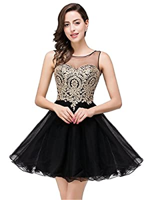 2019 Junior's Homecoming Dresses Rhinestones Gold Applique Short Prom Dresses Before ordered, please do refer to seller's size chart on left image column or product description, not Amazon's size chart link; Features: 1). sleeveless V back; 2). Illus...