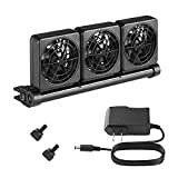 Seven Master Aquarium Chillers, Fish Tank Cooling Fan System 3-Head Wind Power and Angle Adjustable Clip On Chiller, 2 Gears for Control (3-Head)