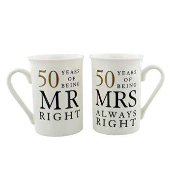 50th Anniversary Gift Set of 2 China Mugs 'Mr Right & Mrs Always Right'