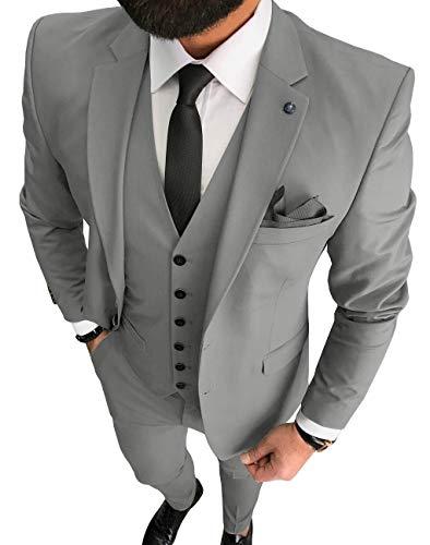 Traje de hombre formal 3 piezas ajuste regular solapa muesca sólido baile esmoquines boda padrinos (Blazer+chaleco+pantalones) - beige - 52