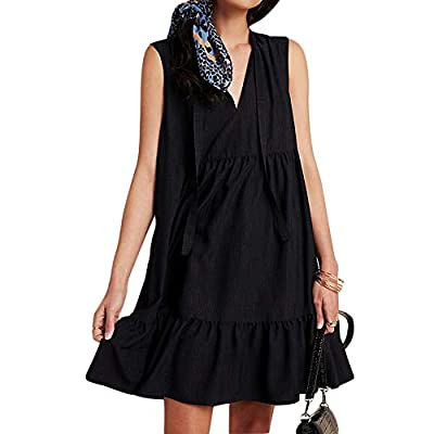 Features: V Neck, Attached Neckstrap Tie Front, Full Lined, Loose Fit Sleeveless Dresses with Tiers, Soft Fabric, Comfortable Wear Occasion: Great for Casual, Daily Wear, Party, Club, Night Out, Vacation, Holiday, Beach, Dating, Graduation, Spring, S...
