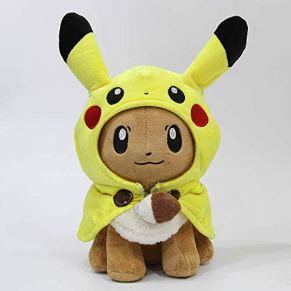SKYLULU 30cm Pocket Animals Pikachu Cosplay Eevee Gengar Muñecas de Peluche Eevee con Capa Cos Pikachu Toy Kids Gift…