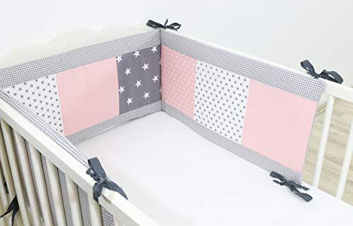 ULLENBOOM ® Nestchen Rosa Grau (210x30 cm Baby Bettnestchen, Bettumrandung für 140x70 cm Babybett - Kopfbereich, Motiv: Punkte, Sterne, Patchwork)