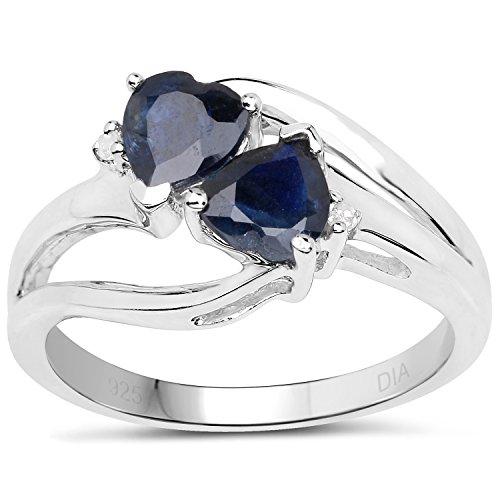 Colección de Anillo de Zafiro: Anillo Plata de Compromiso de Diamante con Zafiro, Tamaño de Anillos 13,5