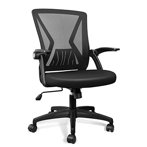 Product Image 1: QOROOS Mid Back Mesh Office Chair Ergonomic Swivel Black Mesh Desk Chair Flip Up Arms with Lumbar Support Computer Chair Adjustable Height Task Chairs