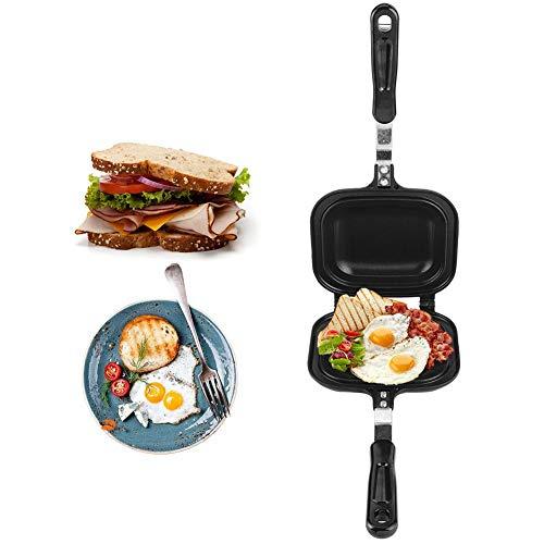 Doppelseitige Bratpfanne, Multifunktions-Bratpfanne Sandwich Toaster Frühstücksmaschine Antihaft-Backform Küchenzubehör 14.4x6.3x1.4in zum Frühstück