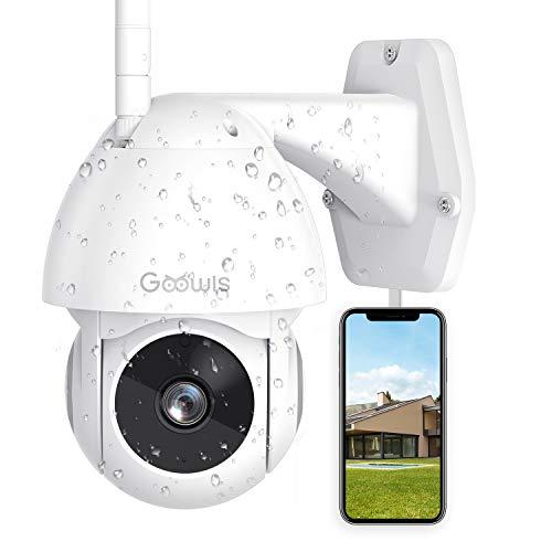 Telecamera WiFi Esterno, Goowls 1080P Telecamera Esterno con grandangolo di 355°/Super Night Vision/Allarme APP/Motion tracking/IP65 Impermeabile/Audio Bidirezionale con Alexa