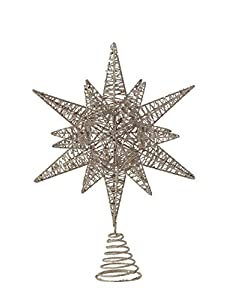 "Give the tree a beautiful new top this Christmas season Multidimensional star will look amazing from all directions Attach to tree with decorative spring coil 10. 5""L x 4""W x 15. 5""H"