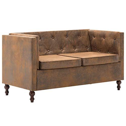Tidyard Divano Chesterfield a 2 Posti o divani 3 posti,divani Moderni per Soggiorno in Tessuro Scamosciato,Marrone/Grigio