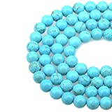 LPBeads 100PCS 8mm Blue Turquoise Gemstone Round Loose Beads for Jewelry Making with...