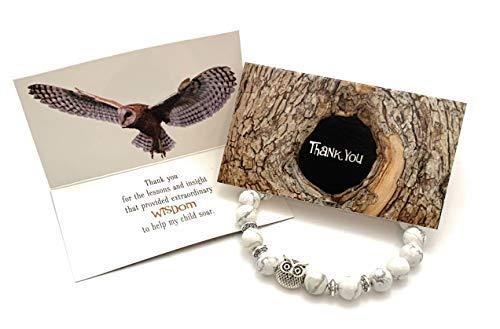 Smiling Wisdom - Owl Stone Stretch Bracelet - Thank You...