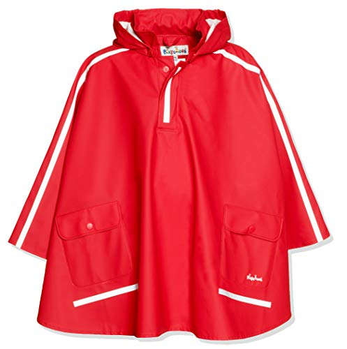 Playshoes Kinder Regencape, leichter Regenponcho, mit extra langem Rücken und abnehmbarer Kapuze, Rot (rot), 152