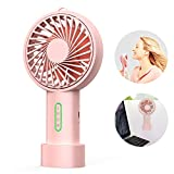 IPOW Mini Handheld Fan Personal Portable Fan 3 Speed Adjustable Angle Removable Base Lanyard USB Recharging Battery Operated Small Desk Cooling Face Fan for Home Camping Disney Travel Peach Pink