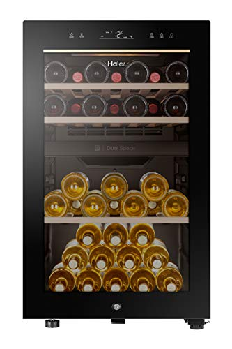 Haier HWS42GDAU1 Series 7 Cantinetta Vino Doppia Temperatura, 42 Bottiglie, Connettivit Wi-Fi, Luci a LED e Vetro anti UV, Ripiani in Legno, 37 dBa, Libera Installazione, 47 * 58.5 * 82 cm, Nero