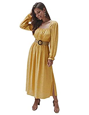 Material: 65% Polyester +35% Cotton. Style#1(Without Side Split):95% Viscose + 5% Spandex.Womens square neck smocked waist long dress with high quality. Soft, lightweight and comfortable Features: Womens maxi print dress features Smocked elastic wais...