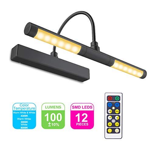 HONWELL Bilderleuchte LED Verstellbare LED Wandleuchte 3 Beleuchtungsmodi AA Batterie Betrieben mit Fernbedienungen 180 ° Schwenkarm, Dimmbare Anzeigelampe mit Timer für Spiegelanstrich, Schwarz