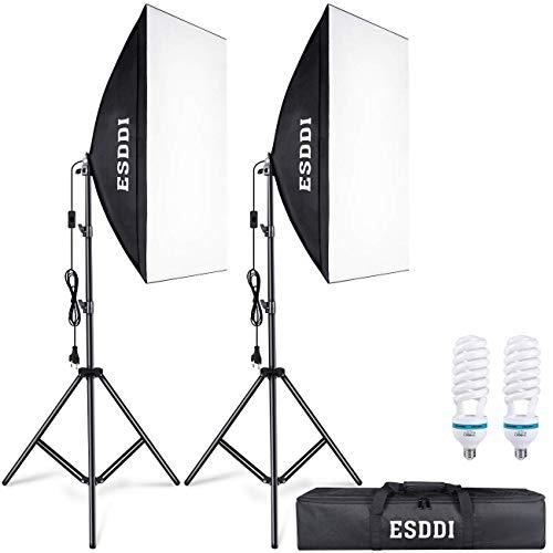 ESDDI Softbox Fotografico Illuminazione Kit 2x 50x 70cm, 2x 85W Lampadine con Continua Luce 5500K...