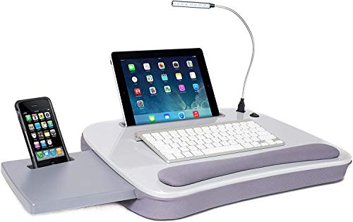 Sofia + Sam Multi Tasking Memory Foam Lap Desk with USB Light (Silver) - Supports Laptops Up to 15 Inches