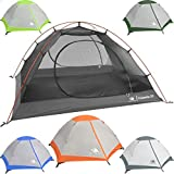 2 Person Backpacking Tent with Footprint - Lightweight Yosemite Two Man 3 Season Ultralight, Waterproof, Ultra Compact 2p Freestanding Backpack Tents for Camping and Hiking by Hyke & Byke (Orange)