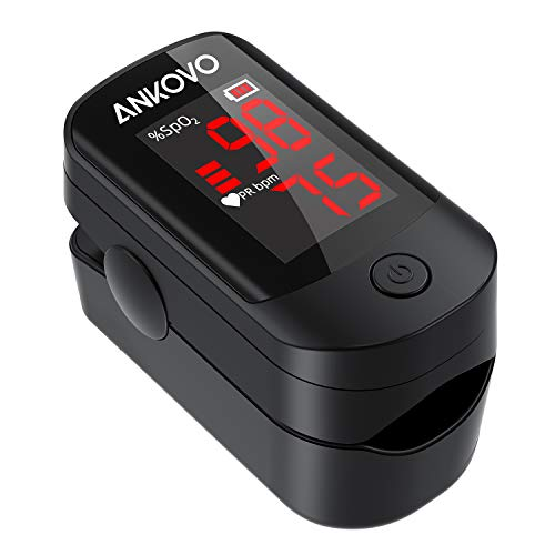 Pulse Oximeter Fingertip, Blood Oxygen Saturation Monitor for Pulse Rate and SpO2 Level, Portable Pulse Oximeter with Large LED Display, Batteries and Lanyard Included