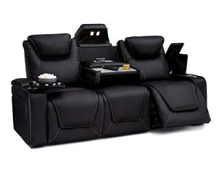 Seatcraft Vienna Home Theater Seating Leather Sofa Recline, Adjustable Headrest, Powered Lumbar Support, and Cup Holders (Sofa, Black)