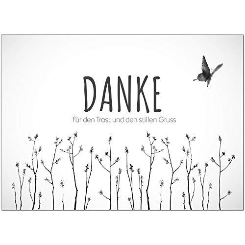 15 x Trauer Danksagungskarten mit Umschlag DIN A6, Motiv schlicht und edel, Danke Sagen nach Beerdigung