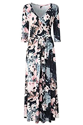 Features: 3 4 sleeves,wrap v neckline, elastic at waist, floor length A-line floral maxi dress.Form fitting on top and looser from the waist down,roomy for your belly bump and hips Occasion: Womens maxi dress comes with cross front and self tie.Works...