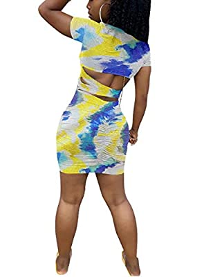 Material: polyester, soft, breathable, skin-friendly, comfortable to wear Features: tie dye print, square collar, short sleeve, backless, cutout, above knee length, bodycon mini dress Stylish Design: tie dye print design enhance the unique of this t-...