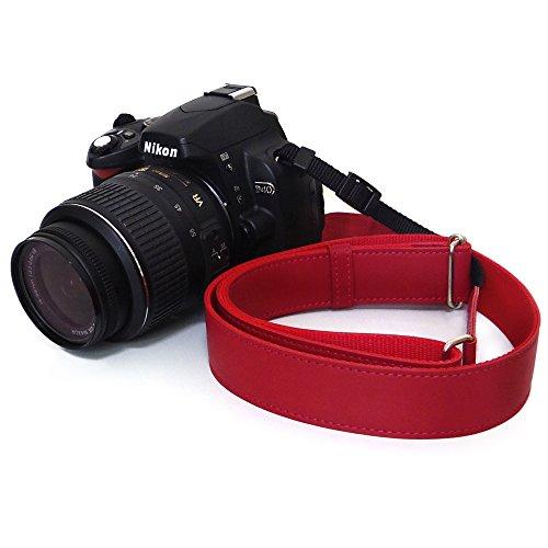 かばん屋さんが作った レザー カメラストラップ 一眼レフカメラ に (ロング レッド)