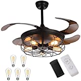 Industrial Retractable Ceiling Fans with Lights - [Update] with 5 LED Bulbs 4 Mode Timing with Remote Controller 42inch Vintage Ceiling Fans with 2 Down Rods for Kitchen Bedroom Living/Dinning Room